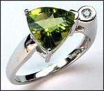 Trillian Shaped Peridot 2.4ct & Diamond Ring