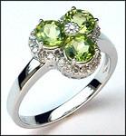 Peridot Gemstone & Diamond Cluster Ring - 1.95ct Total Weight