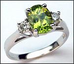 3 Stone Peridot & Diamond Ring, 1.12ct Peridot