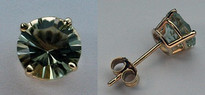 Green Amethyst Stud Earrings - 2.50ct - Yellow Gold