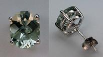 Green Amethyst Stud Earrings - 3.0ct - White Gold