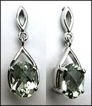 2.20ct Green Amethyst Earrings - White Gold