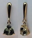 Dangling Green Amethyst Earrings in Yellow Gold