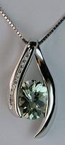 2.20ct Green Amethyst and Diamond Gold Pendant