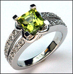 1.34ct Peridot and Diamond Ring - White Gold