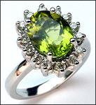 2.26 Peridot White Gold Ring, 1/2ct Diamond