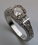 1.01ct GIA Cushion Cut Antique Rep. Diamond Engagement Ring