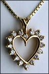 14kt Yellow Open Diamond Heart Pendant, .32ct Diamond