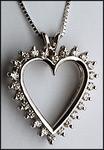 14kt Open Heart Diamond Pendant, 24 Diamonds