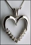 1/3ct, White Gold Diamond Heart Pendant, 11 Diamonds