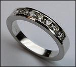 1/2ct Ladies Diamond Wedding Band, 7 Diamonds Channel Set