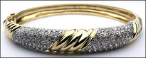 14kt Two Tone Diamond Bangle Bracelet