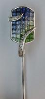 18kt Gold Stick Pin with Tsavorite Gemstones