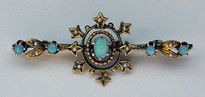 Cultured Opal and Pearl Antique Pin