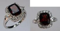 14kt Garnet Ring with White Sapphires