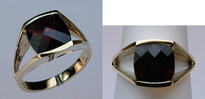 Channel Set Garnet and Yellow Gold Ring