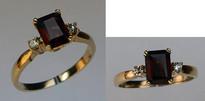 Emerald Cut Garnet 3 Stone Ring