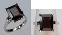 Garnet Solitaire White Gold Ring
