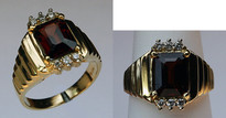 Garnet and Diamond Ring set in 14kt Yellow Gold