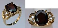 14kt Yellow Gold Garnet Ring with Diamonds