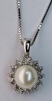Cultured Pearl and Diamond Pendant