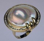 Blister Pearl and Diamond Ring
