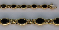 Black Onyx Bracelet set in 14kt Gold