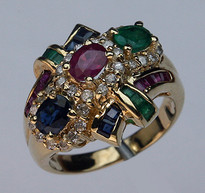 Multi Colored Ring with Precious Stones