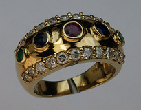 Multi Colored Precious Stone Gold Band