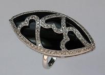 Onyx Ring with Diamonds (Ladies)
