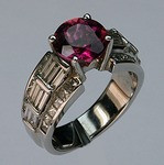 Pink Tourmaline Ring with Baguettes