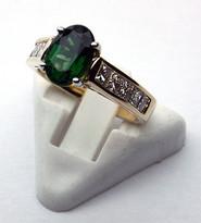 Green Tourmaline Ring with Princess Cut Diamonds