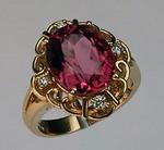 Pink Tourmaline Ring set in 14kt Yellow Gold
