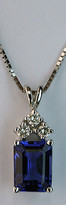 Emerald Cut Tanzanite Pendant with Diamonds