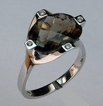 Smokey Topaz Gold Ring with Diamonds EGR053