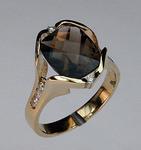 Smokey Topaz Gold Ring with Diamonds