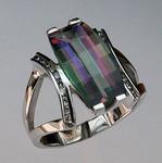 14kt Gold Mystic Topaz Ring with Diamonds 61EGR