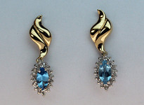 14kt Gold Blue Topaz Earring with Diamonds