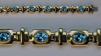 14kt Gold Blue Topaz Bracelet