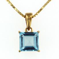 14kt Gold Blue Topaz Pendant 018ML