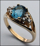 14kt Gold Blue Topaz and Diamond Ring R326