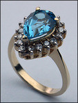 14kt Gold Blue Topaz and Diamond Ring R375