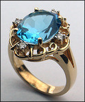 14kt Gold Blue Topaz and Diamond Ring R534