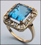 14kt Gold Blue Topaz and Diamond Ring 51BT