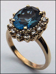 14kt Gold Blue Topaz and Diamond Ring R370 282