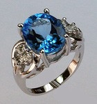 14kt Gold Blue Topaz and Diamond Ring
