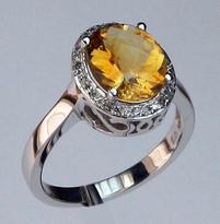 14kt Gold Citrine and Diamond Ring 50CIT