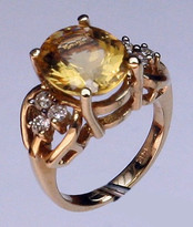 14kt Gold Citrine and Diamond Ring R604
