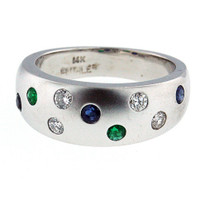 14kt Sapphire+Emerald Diamond Cluster Ring