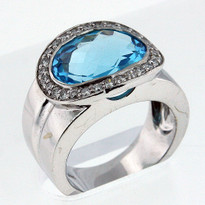 14kt Gold Blue Topaz and Diamond Ring 04Y41ML